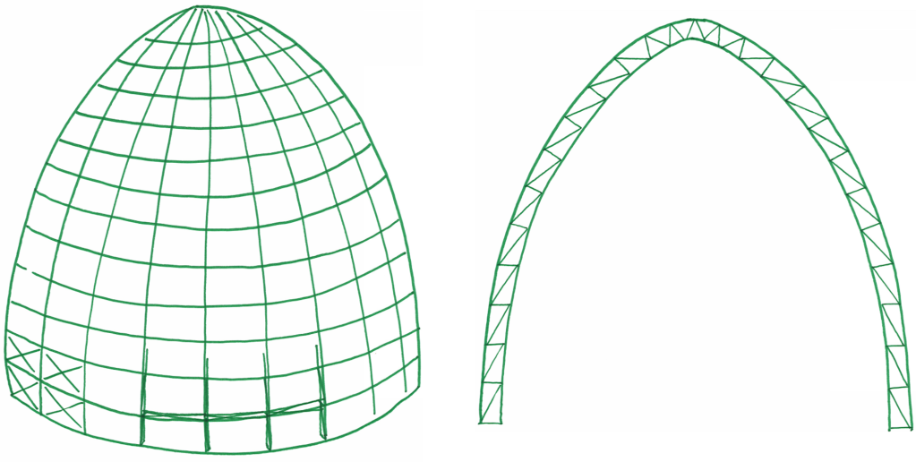 Spaghetti dome 3D and section